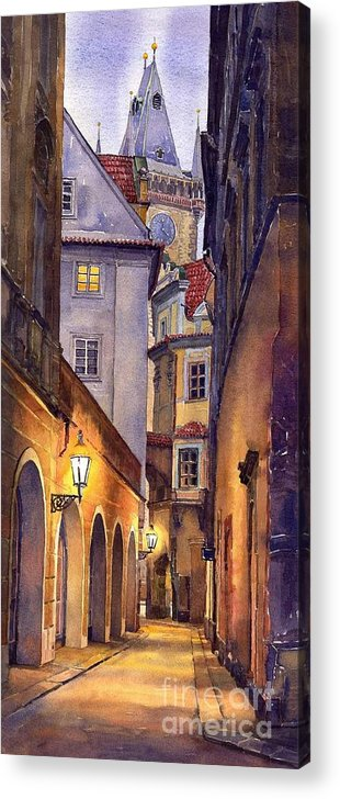 Cityscape Acrylic Print featuring the painting Prague Old Street by Yuriy Shevchuk