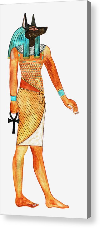 Watercolor Painting Acrylic Print featuring the digital art Illustration Of Ancient Egyptian God Of by Dorling Kindersley