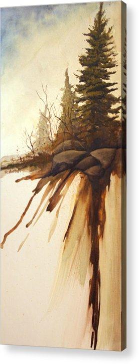 Rick Huotari Acrylic Print featuring the painting North Woods Pines by Rick Huotari
