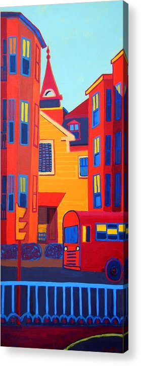 Buildings Acrylic Print featuring the painting Ride on the Early Morning Light by Debra Bretton Robinson