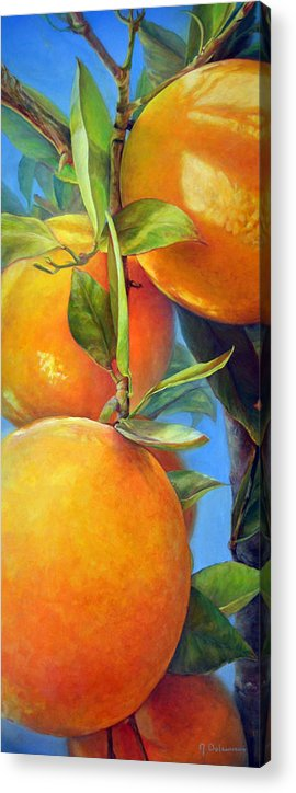 Acrylic Acrylic Print featuring the painting Tombee d Oranges by Muriel Dolemieux