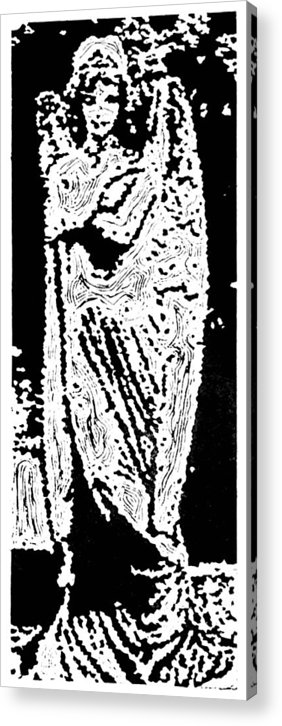 Angel Acrylic Print featuring the painting Contentment -- Hand-pulled Linoleum Cut by Lynn Evenson