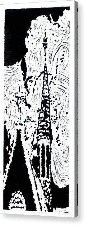 Black Acrylic Print featuring the painting Faith--Hand-pulled Linoleum Cut Relief Print by Lynn Evenson