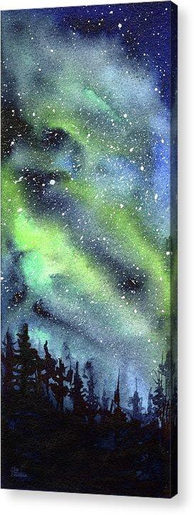Watercolor Galaxy Acrylic Print featuring the painting Galaxy Watercolor Nebula Northern Lights by Olga Shvartsur