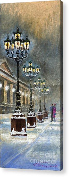 Pastel Acrylic Print featuring the painting Germany Baden-Baden Kurhaus by Yuriy Shevchuk