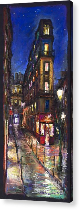 Landscape Acrylic Print featuring the painting Paris Old street by Yuriy Shevchuk