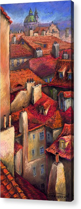 Prague Acrylic Print featuring the painting Prague Roofs by Yuriy Shevchuk