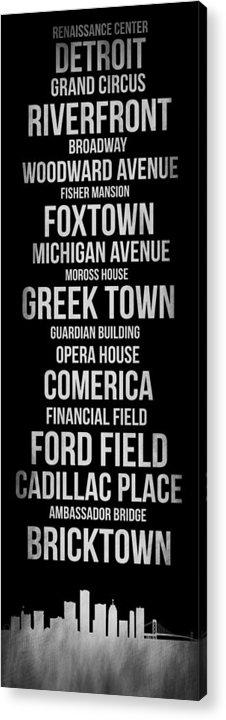 Detroit Acrylic Print featuring the digital art Streets Of Detroit 2 by Naxart Studio