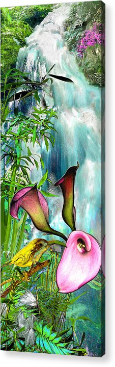 Bird Acrylic Print featuring the painting At The Waterfall by Anne Weirich