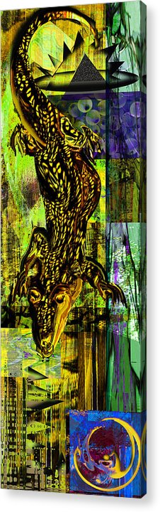 Croc Acrylic Print featuring the painting Crocodile At Nile by Anne Weirich