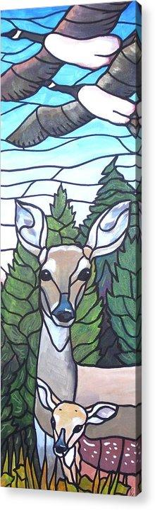 Deer Acrylic Print featuring the painting Deer Scene by Jim Harris