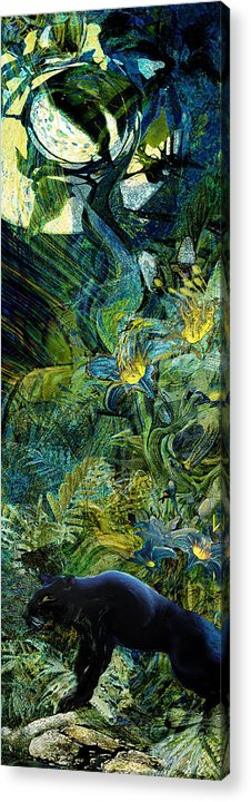 Panther Acrylic Print featuring the painting Night Of The Panther by Anne Weirich