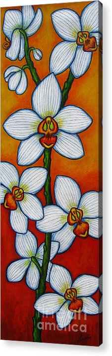 Orchids Acrylic Print featuring the painting Orchid Oasis by Lisa Lorenz