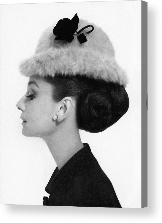 Accessories Acrylic Print featuring the photograph Audrey Hepburn Wearing A Givenchy Hat by Cecil Beaton
