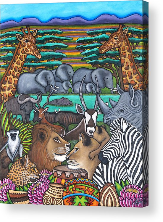 Africa Acrylic Print featuring the painting Colours of Africa by Lisa Lorenz