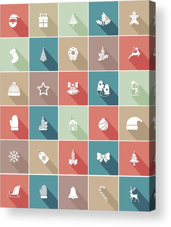 Long Acrylic Print featuring the drawing Flat Color UI Long Shadow Website Christmas Icon by Diane Labombarbe