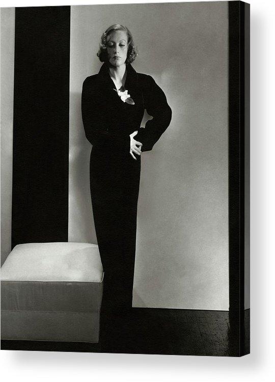 Studio Shot Acrylic Print featuring the photograph Joan Crawford Wearing A Schiaparelli Dress by Edward Steichen