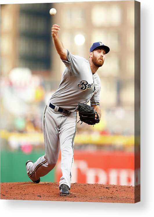 American League Baseball Acrylic Print featuring the photograph Milwaukee Brewers V Pittsburgh Pirates by Jared Wickerham