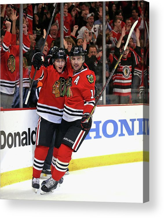Playoffs Acrylic Print featuring the photograph St. Louis Blues V Chicago Blackhawks - by Jonathan Daniel