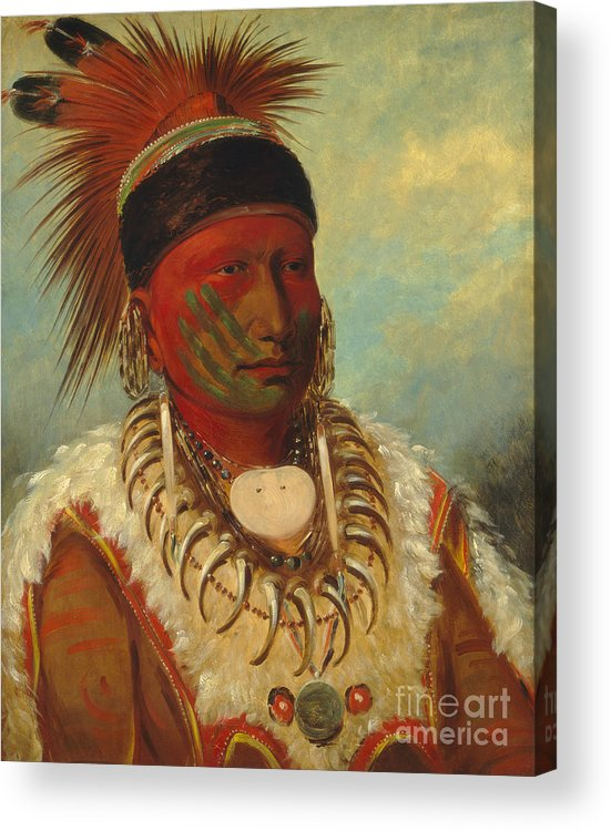 Mo; Hos; Ka; Tribe; Native American Indian; Feathered; Headdress; Feathers; Tattoo; Tattoos; Tribal Markings; Marking; Leader; Chieftain; Iowa; Male; Portrait; Bone Necklace; Tusks; Teeth; Animal Skin; Costume; Traditional; Dress Acrylic Print featuring the painting The White Cloud Head Chief of the Iowas by George Catlin