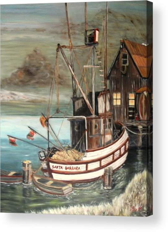 Boat Acrylic Print featuring the painting Santa Barbara by Kenneth LePoidevin