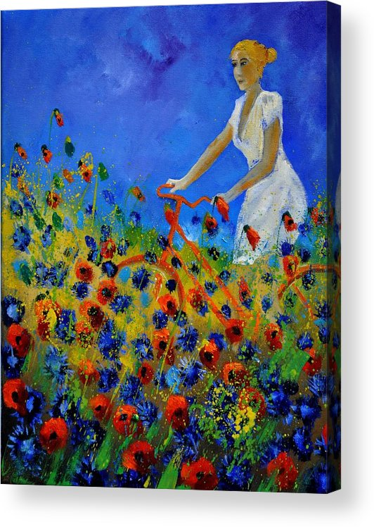 Flowers Acrylic Print featuring the painting A bicycle amid the flowers by Pol Ledent
