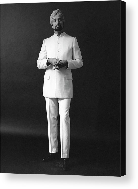 Fashion Acrylic Print featuring the photograph A Male Model Wearing A Custom-tailored Gaberdine by Leonard Nones