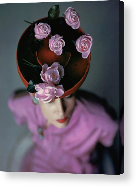 Accessories Acrylic Print featuring the photograph A Model Wearing A Bonwit Teller Hat by John Rawlings