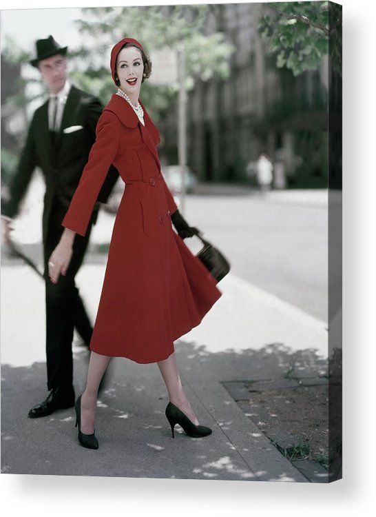 Fashion Acrylic Print featuring the photograph A Model Wearing A Red Coat by Karen Radkai