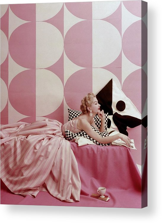 One Person Acrylic Print featuring the photograph A Portrait Of Lisa Fonssagrives Lying by Richard Rutledge