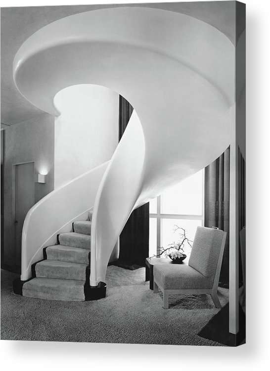 Interior Acrylic Print featuring the photograph A Spiral Staircase by Hedrich-Blessing