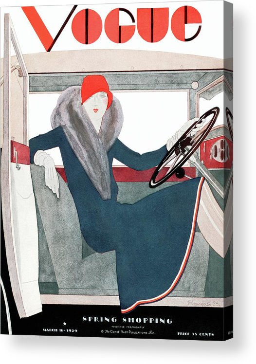 Illustration Acrylic Print featuring the photograph A Vintage Vogue Magazine Cover Of A Woman by Pierre Mourgue
