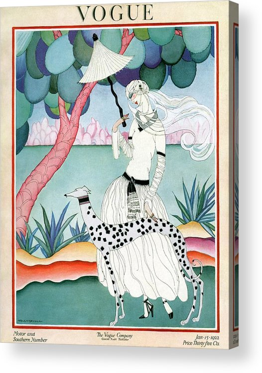 Illustration Acrylic Print featuring the photograph A Vogue Cover Of A Woman With A Dalmatian by Helen Dryden