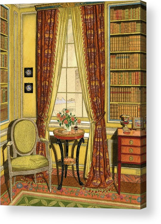 Illustration Acrylic Print featuring the digital art A Yellow Library With A Vase Of Flowers by Harry Richardson