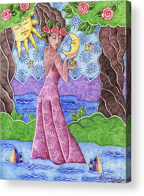 Figurative Acrylic Print featuring the drawing Adorable Moon by Elaine Jackson