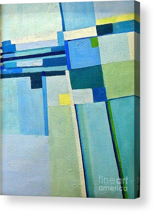 Blue Acrylic Print featuring the painting Aerial Crossroads by Judith Espinoza