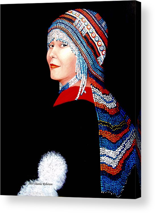 Alaska Acrylic Print featuring the digital art Alaska Alutiiq Woman by Dianne Roberson