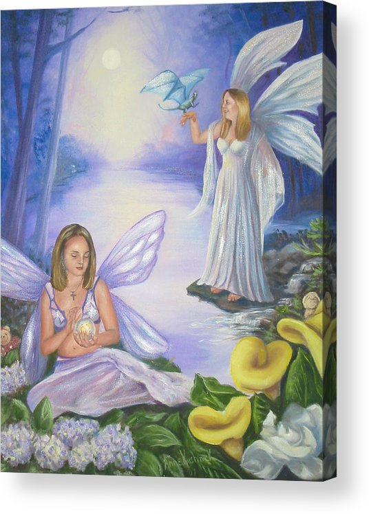 Fairies Acrylic Print featuring the painting Alyssa and Victoria by Anne Kushnick