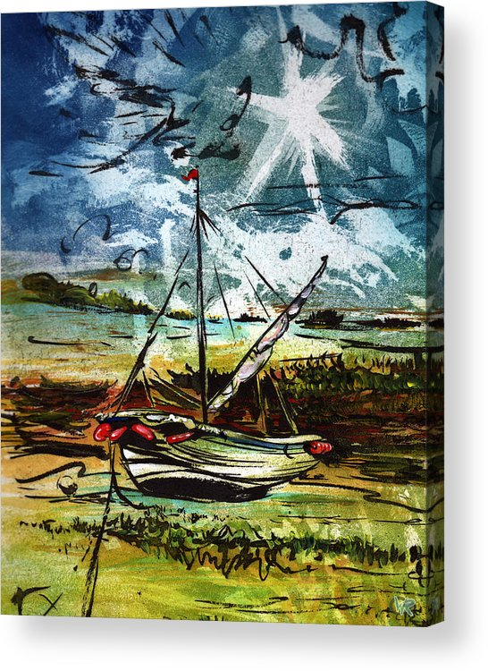 Seascape Acrylic Print featuring the mixed media Awaiting the Tide by William Rowsell