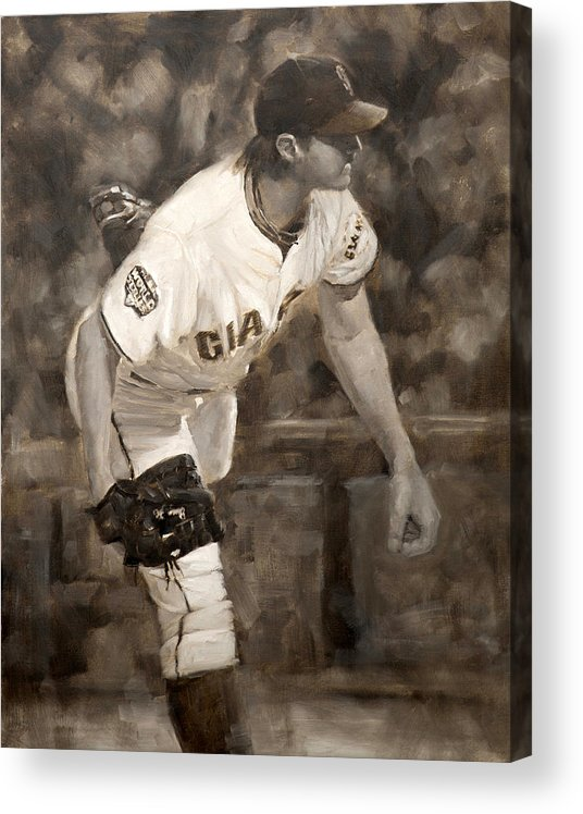 Barry Zito Acrylic Print featuring the painting Barry Zito - Redemption by Darren Kerr