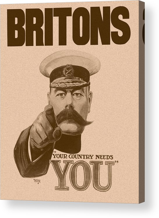 Wwi Acrylic Print featuring the painting Britons Your Country Needs You by War Is Hell Store