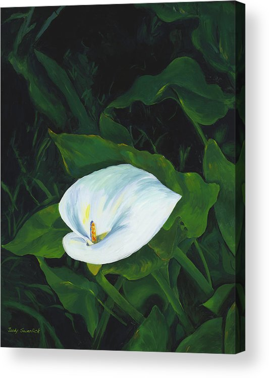 Calla Lily Acrylic Print featuring the painting Calla Lily in the Garden of Diego and Frida by Judy Swerlick