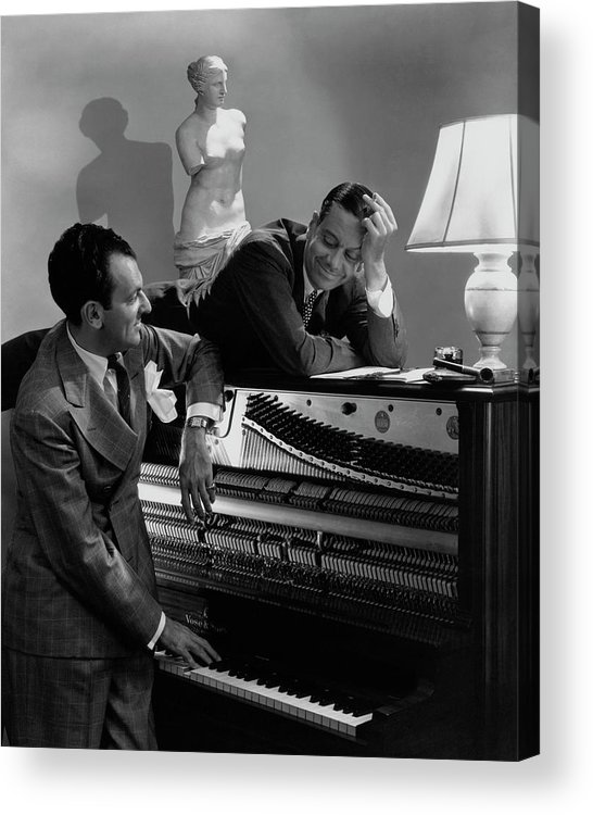 Portrait Acrylic Print featuring the photograph Cole Porter And Moss Hart At A Piano by Lusha Nelson