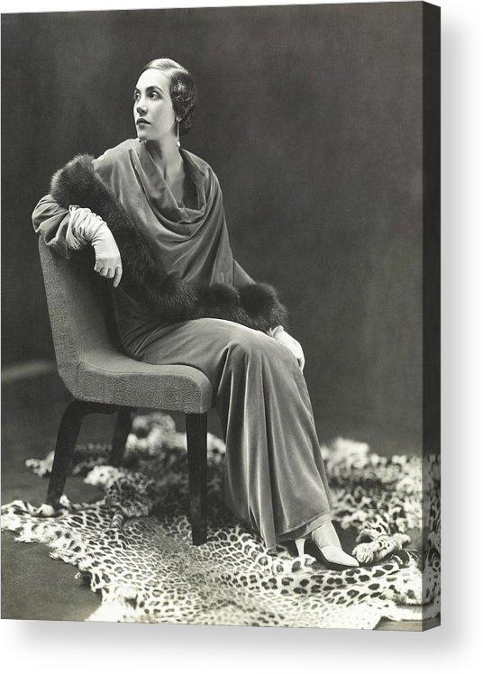 Fashion Acrylic Print featuring the photograph Countess Celani Lepri Wearing A Velvet Dress by George Hoyningen-Huene
