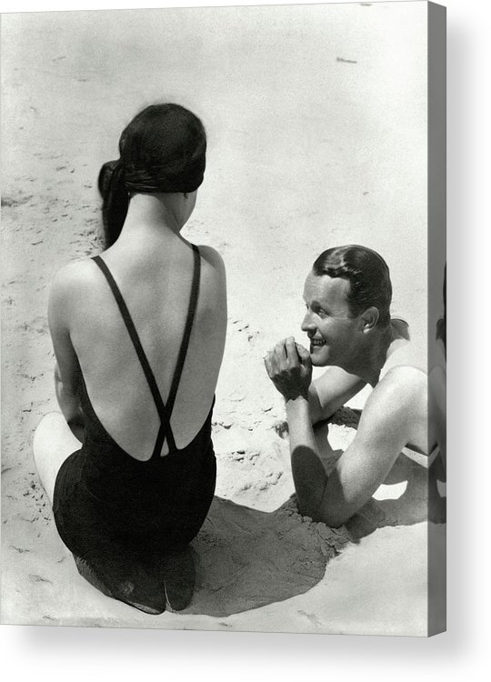 Outdoors Acrylic Print featuring the photograph Couple On A Beach by George Hoyningen-Huene