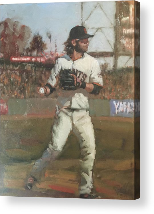 Brandon Crawford Acrylic Print featuring the painting Crawford Day Game by Darren Kerr