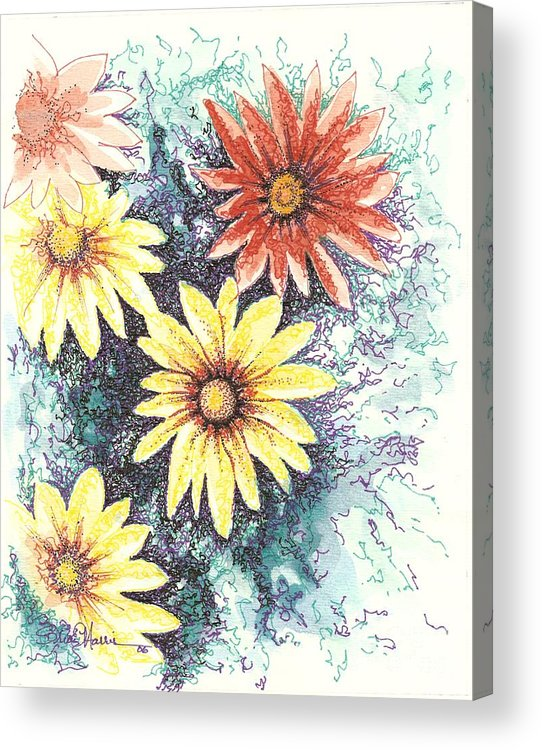 Daisies Acrylic Print featuring the mixed media Dazzeled by Brian Edward Harris