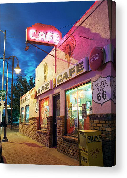 Shadow Acrylic Print featuring the photograph Diner Along Route 66 At Dusk by Gary Yeowell