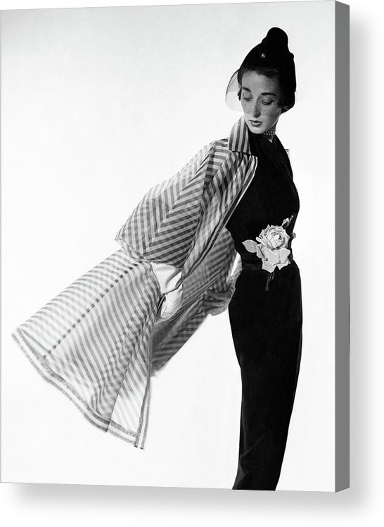Accessories Acrylic Print featuring the photograph Dorian Leigh Wearing A Bonnie Cashin Dress by Cecil Beaton