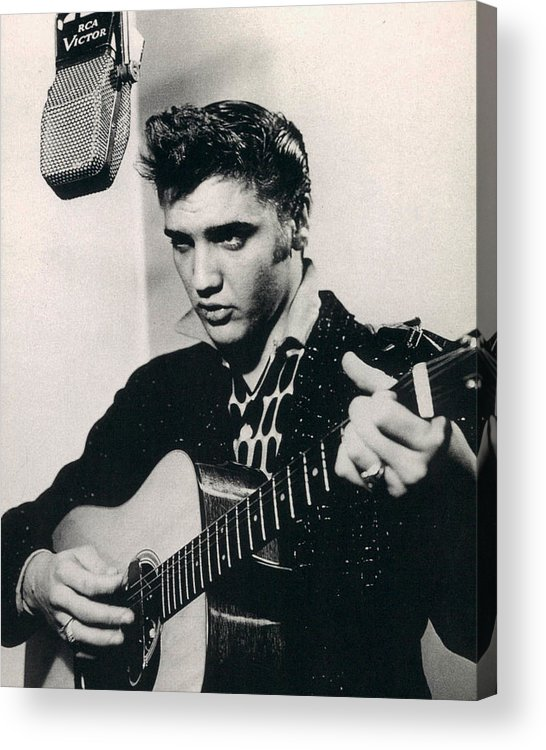 Classic Acrylic Print featuring the photograph Elvis Presley Plays And Sings Into Old Microphone by Retro Images Archive